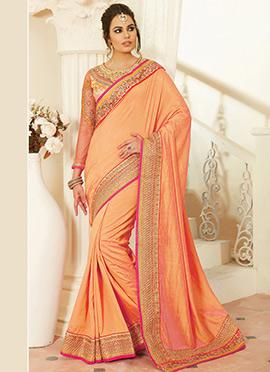 Orange Taffeta Silk Saree