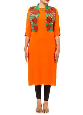 Orange Tikki Work Jacket Kurti