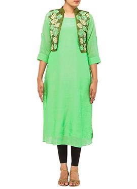 Green Tikki Work Jacket Kurti