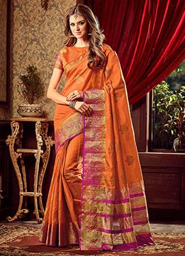 Orange Uppada Art Silk Saree