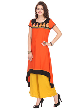 Orange Viscose Asymmetrical Kurti