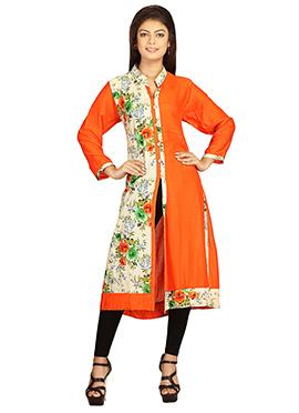 Orange Viscose Printed Long Kurti