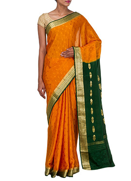 Orangish Ochre Foliage Pure Silk Saree