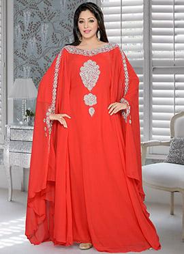 Orangish Red Georgette Farasha