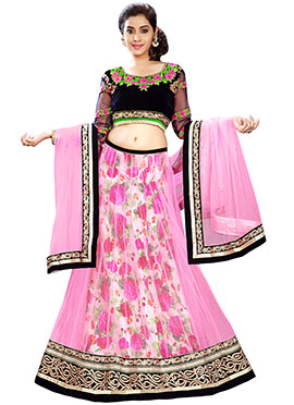Orchid Pink N Multicolored A Line Lehenga Choli