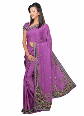 Orchid Purple Pure Chiffon Saree