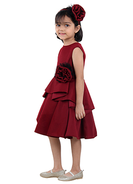 Maroon Net Kids Dress