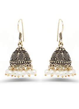 Oxidized Dark Gold Colored Pearl Studded Jhumkas