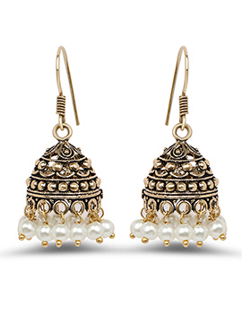 Oxidized Deep Golden Colored Pearl Studded Jhumkas