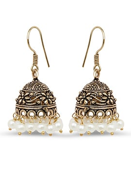 Oxidized Gold Colored Pearl Studded Jhumkas