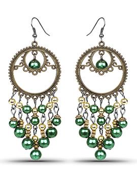 Oxidized Gold Plated N Green Chandelier Earrings