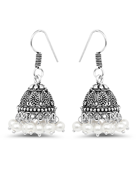 Oxidized Silver Colored Pearl Studded Jhumkas