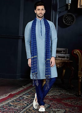Pale Blue Cotton Silk Kurta Pyjama