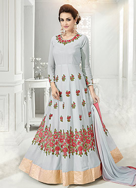 Pale Blue Georgette Net Abaya Style Anarkali Suit