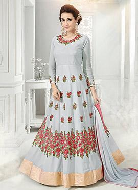 Pale Blue Georgette Net Abaya Style Anarkali Suit