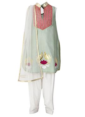 Pale Green Art Silk Cotton Kids Salwar Suit