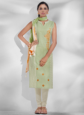 Pale Green Cotton Churidar Suit