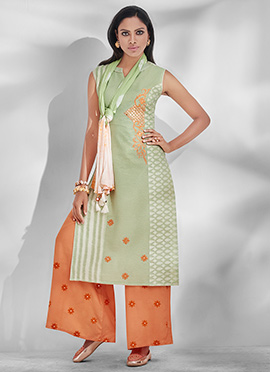 Pale Green Cotton Palazzo Suit