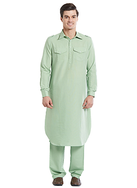 Pale Green Cotton Pathani Set