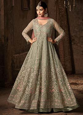 Pale Green Embroidered Abaya Style Anarkali Suit