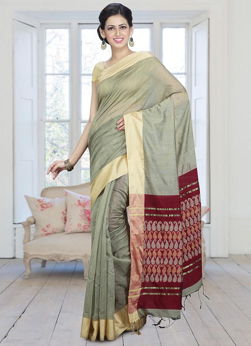 fb432aec3163d Buy Pale Green Handloom Cotton Silk Saree