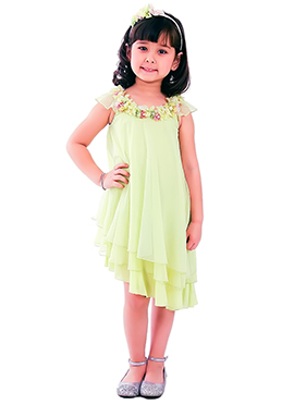 Pale Green Kidology Asymetric Flower Dress