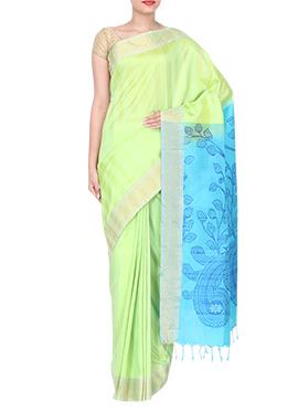 Pale Green Pure Handloom Silk Mahaveers Saree