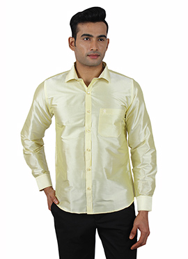 Pale Green Pure Raw Silk Shirt