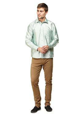 Pale Mint Green Pure Silk Classic Shirt
