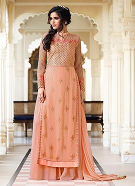 Pale Orange Georgette Palazzo Suit