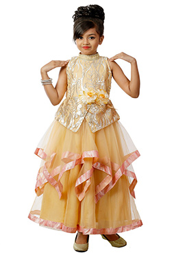 Pale Orange Net N Lycra Kids Layered Gown
