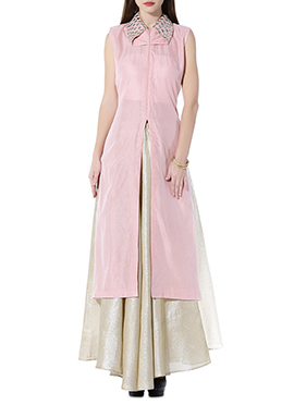 Pale Pink Chanderi Skirt Set