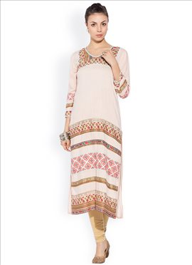 Pale Pink Cotton Printed Kurti