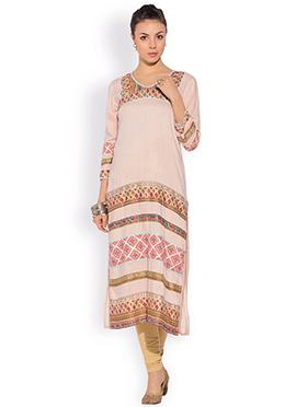 Pale Pink Cotton Printed Plus Size Kurti