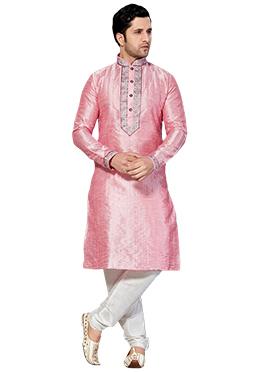 Pale Pink Dupion Silk Kurta Pyjama