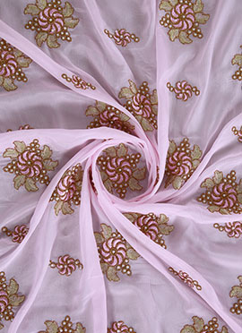Pale Pink Embroidered Chinnon Chiffon Fabric