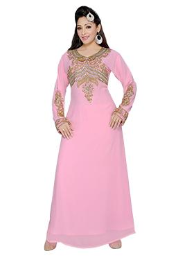 Pale Pink Georgette Embellished Fustan