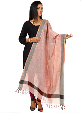 Pale Red Tussar Silk Dupatta