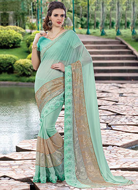 Pale Turquoise Georgette N Net Saree
