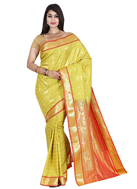 Pale Yellow Art Kancheepuram Silk Saree