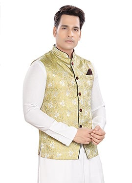 Pale Yellow Brocade Nehru Jacket