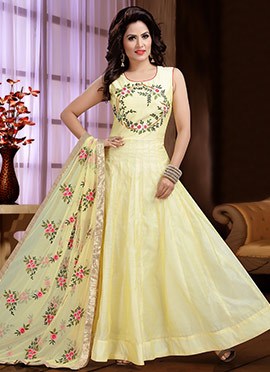 Pale Yellow Embroidered Abaya Style Anarkali Suit