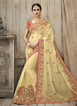 Pale Yellow Georgette Saree