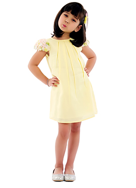 Pale Yellow Kidology Flower Sleeves Dress