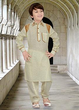Pale Yellow Kids Art Silk Cotton Pathani Set