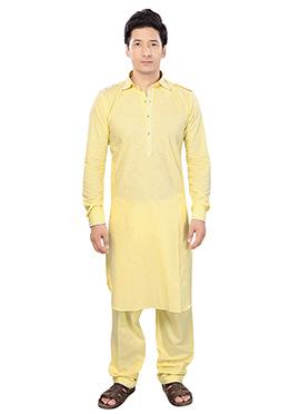 Pale Yellow Linen Pathani Set