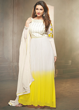 Parineeti Chopra Off White N Yellow Anarkali Suit