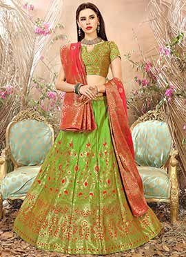 Parrot Green Art Benarasi Silk A Line Lehenga