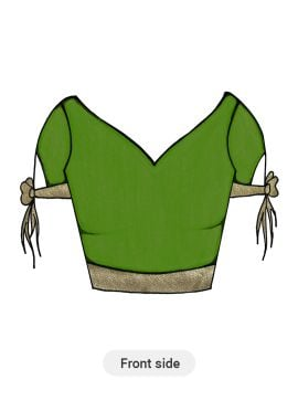 Parrot Green Art Dupion Silk and Beige Shimmer Georgette Blouse