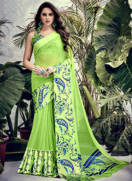 Parrot Green Art Satin Silk Saree
